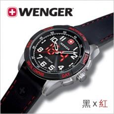 【WENGER LED NOMAD】遊牧系列大三針多功能雙顯腕錶-黑x紅/43mm/大錶徑