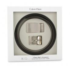 Calvin Klein經典LOGO光面替換式皮帶禮盒組 黑/咖啡(雙面色) 103400-1