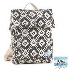 【041001】TOMS新款二次元方塊花紋布料後背包/潮流包/背包/書包 +贈高爾夫球素面方巾(隨機出貨)