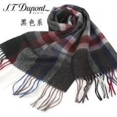 【S.T.Dupont】羊駝毛混紗時尚格紋圍巾-黑色系 989120-3買一送一